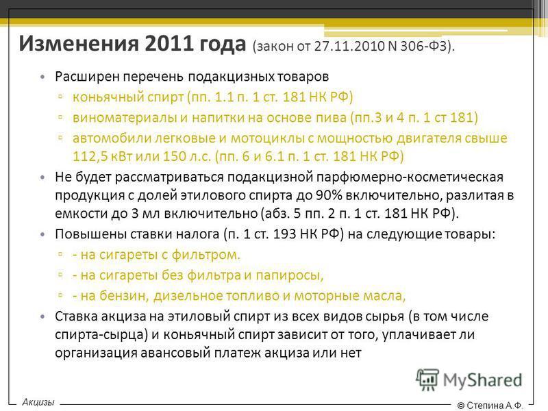 Изменения 2011 года (закон от 27.11.2010 N 306-ФЗ). Расширен перечень подакцизных товаров коньячный спирт (пп. 1.1 п. 1 ст. 181 НК РФ) виноматериалы и напитки на основе пива (пп.3 и 4 п. 1 ст 181) автомобили легковые и мотоциклы с мощностью двигателя