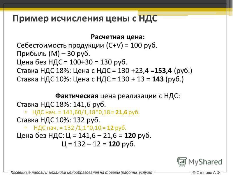 Пример исчисления цены с НДС Расчетная цена: Себестоимость продукции (С+V) = 100 руб. Прибыль (М) – 30 руб. Цена без НДС = 100+30 = 130 руб. Ставка НДС 18%: Цена с НДС = 130 +23,4 =153,4 (руб.) Ставка НДС 10%: Цена с НДС = 130 + 13 = 143 (руб.) Факти