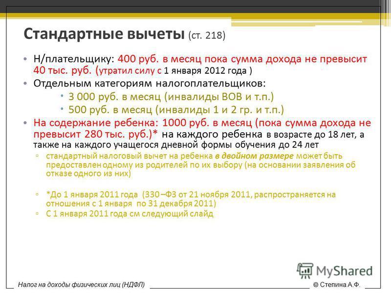Стандартные вычеты (ст. 218) Н/плательщику: 400 руб. в месяц пока сумма дохода не превысит 40 тыс. руб. ( утратил силу с 1 января 2012 года ) Отдельным категориям налогоплательщиков: 3 000 руб. в месяц (инвалиды ВОВ и т.п.) 500 руб. в месяц (инвалиды