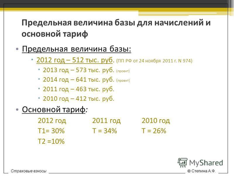 Предельная величина базы для начислений и основной тариф Предельная величина базы: 2012 год – 512 тыс. руб. (ПП РФ от 24 ноября 2011 г. N 974) 2013 год – 573 тыс. руб. (проект) 2014 год – 641 тыс. руб. ( проект) 2011 год – 463 тыс. руб. 2010 год – 41