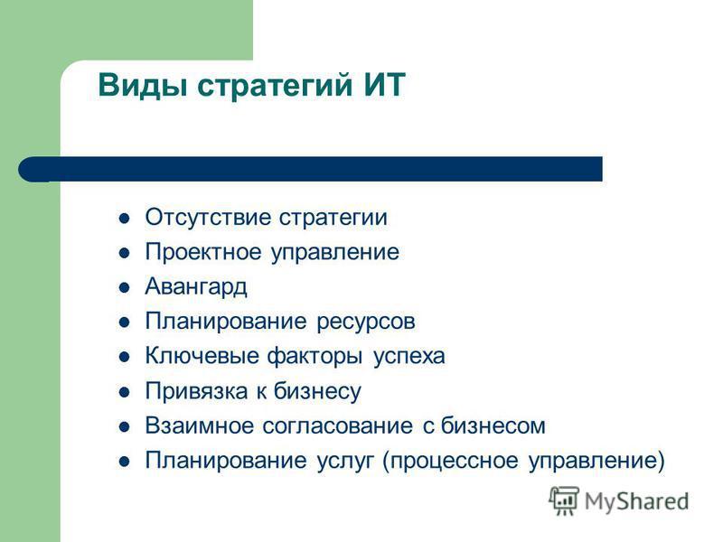 Виды стратегий ИТ Отсутствие стратегии Проектное управление Авангард Планирование ресурсов Ключевые факторы успеха Привязка к бизнесу Взаимное согласование с бизнесом Планирование услуг (процессное управление)