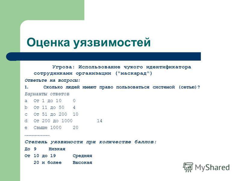 Оценка уязвимостей Угроза: Использование чужого идентификатора сотрудниками организации (