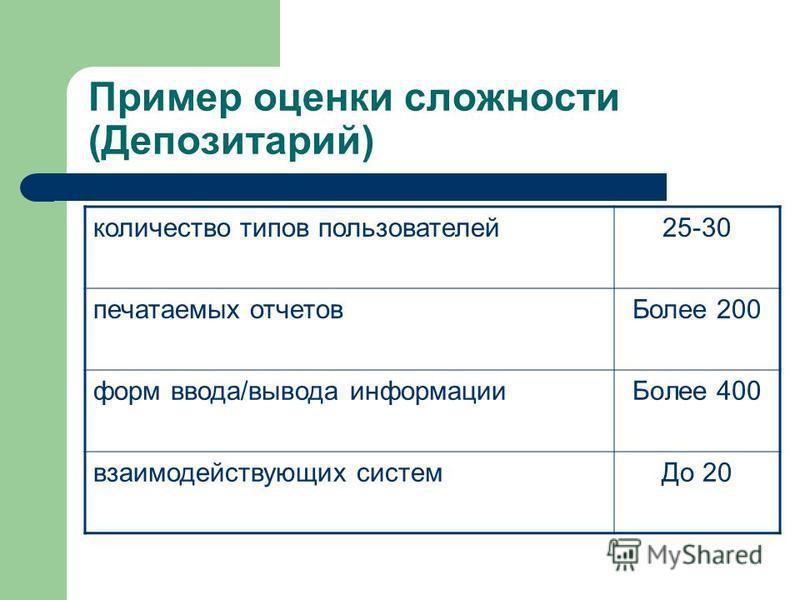 Пример оценки сложности (Депозитарий) количество типов пользователей 25-30 печатаемых отчетов Более 200 форм ввода/вывода информации Более 400 взаимодействующих систем До 20