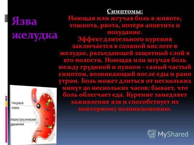 Язва желудка Симптомы: Ноющая или жгучая боль в животе, тошнота, рвота, потеря аппетита и похудание. Эффект длительного курения заключается в соляной кислоте в желудке, разъедающей защитный слой в его полости. Ноющая или жгучая боль между грудиной и