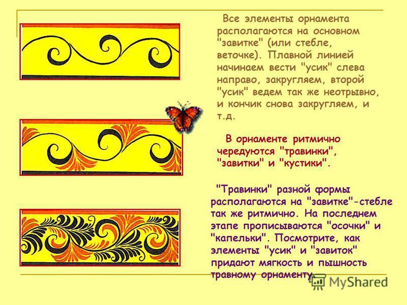Все элементы орнамента располагаются на основном