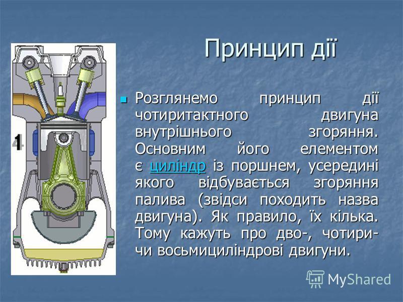 Принцип дії Розглянемо принцип дії чотиритактного двигуна внутрішнього згоряння. Основним його елементом є циліндр із поршнем, усередині якого відбувається згоряння палива (звідси походить назва двигуна). Як правило, їх кілька. Тому кажуть про дво-,