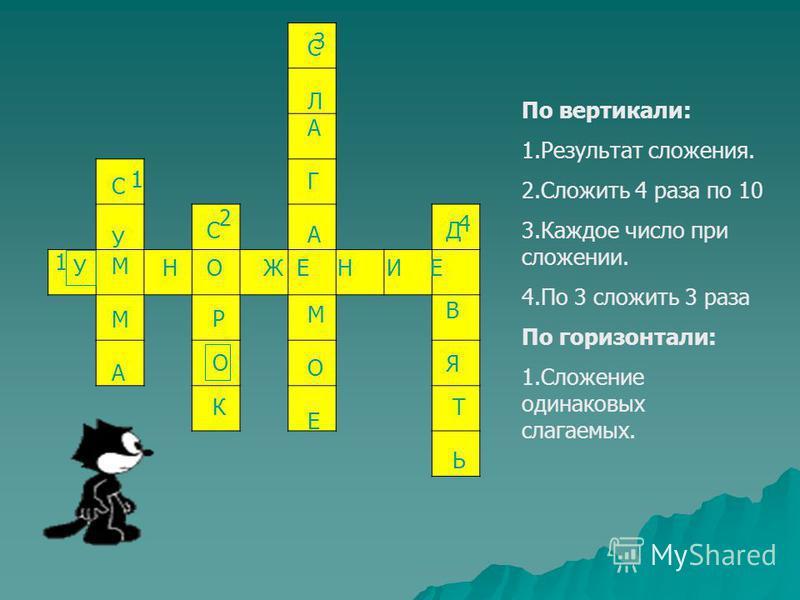По вертикали: 1. Результат сложения. 2. Сложить 4 раза по 10 3. Каждое число при сложении. 4. По 3 сложить 3 раза По горизонтали: 1. Сложение одинаковых слагаемых. 2 2 2 11 2 3 4 1 СУММАСУММА О Р С О К СЛАГАМОЕСЛАГАМОЕ ДВЯДВЯ ТЬТЬ У НЖ Е Н И Е