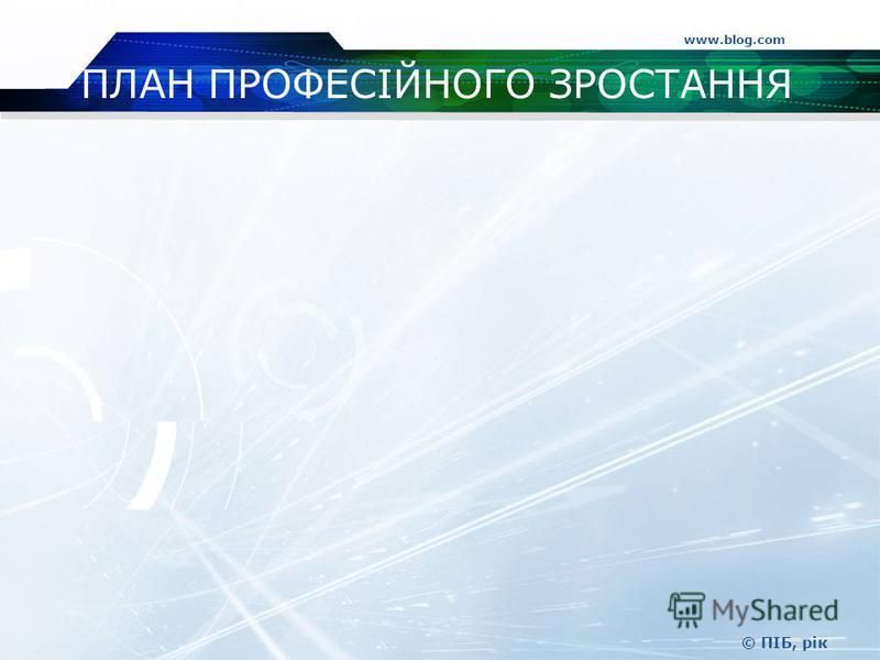 ПЛАН ПРОФЕСІЙНОГО ЗРОСТАННЯ www.blog.com © ПІБ, рік