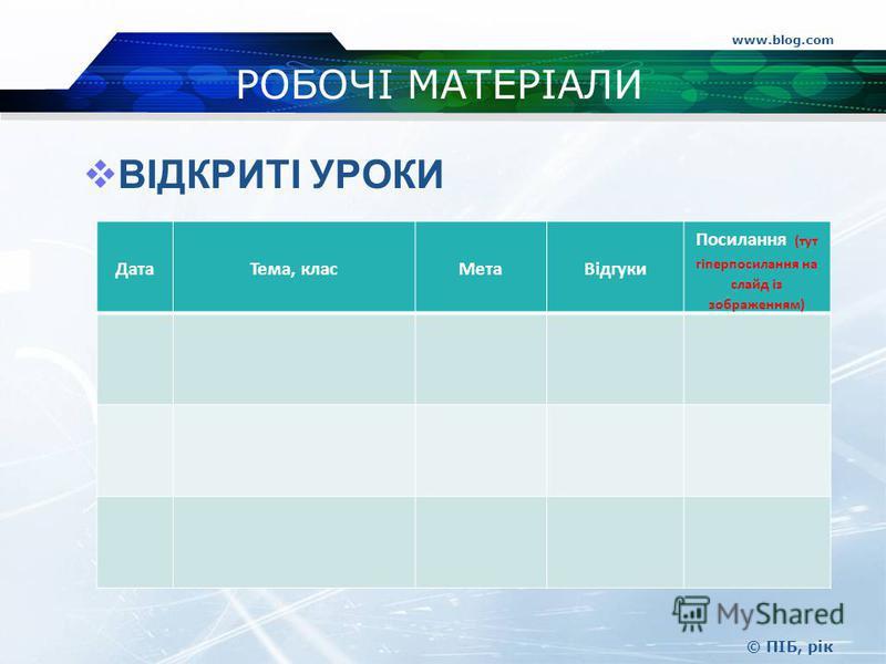 www.blog.com © ПІБ, рік РОБОЧІ МАТЕРІАЛИ ВІДКРИТІ УРОКИ ДатаТема, класМетаВідгуки Посилання (тут гіперпосилання на слайд із зображенням)