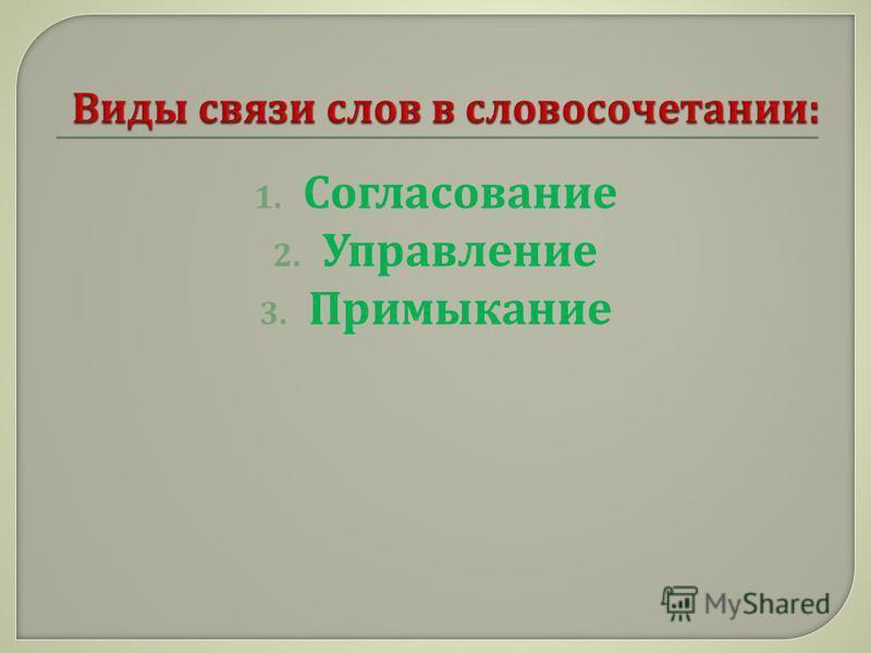 1. Согласование 2. Управление 3. Примыкание