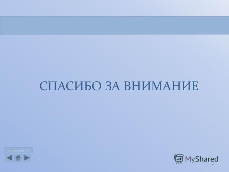 оглавление СПАСИБО ЗА ВНИМАНИЕ 16
