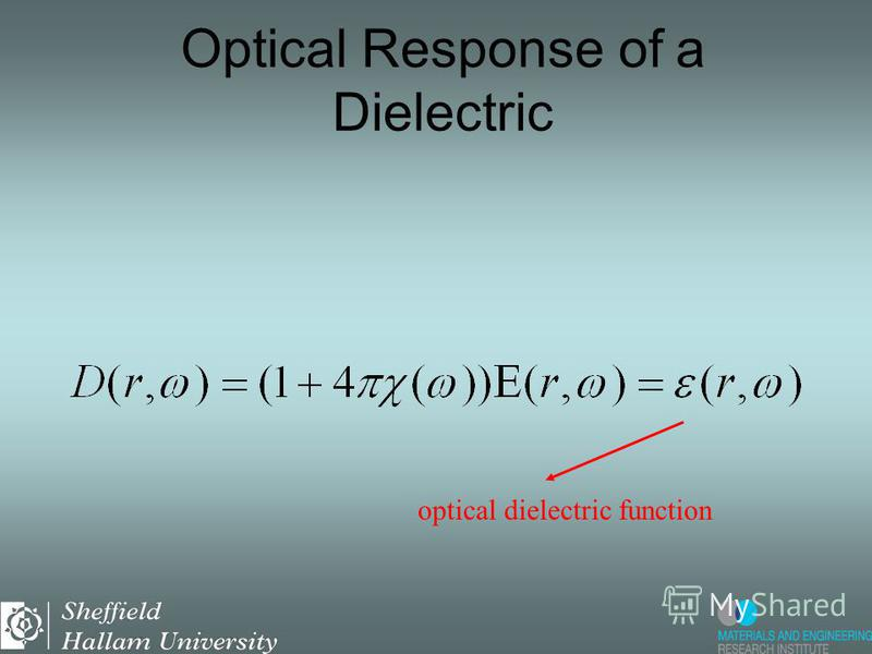 optical susceptibility Optical Response of a Dielectric