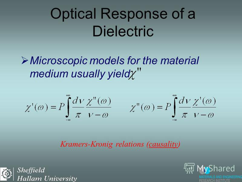 Usually, in semiconductors, the imaginary part of the dielectric function is much smaller then the real part and we can write: Optical Response of a Dielectric