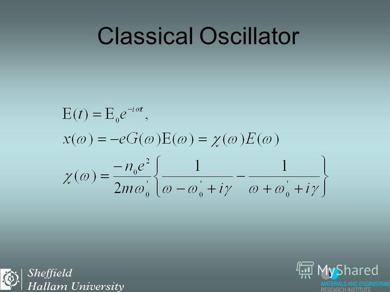 Electron in an oscillating electric field: Newtons equation: damped oscillator. Retarded Green function Classical Oscillator