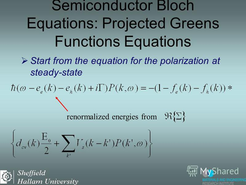 Start from the equation for the polarization at steady-state Semiconductor Bloch Equations: Projected Greens Functions Equations