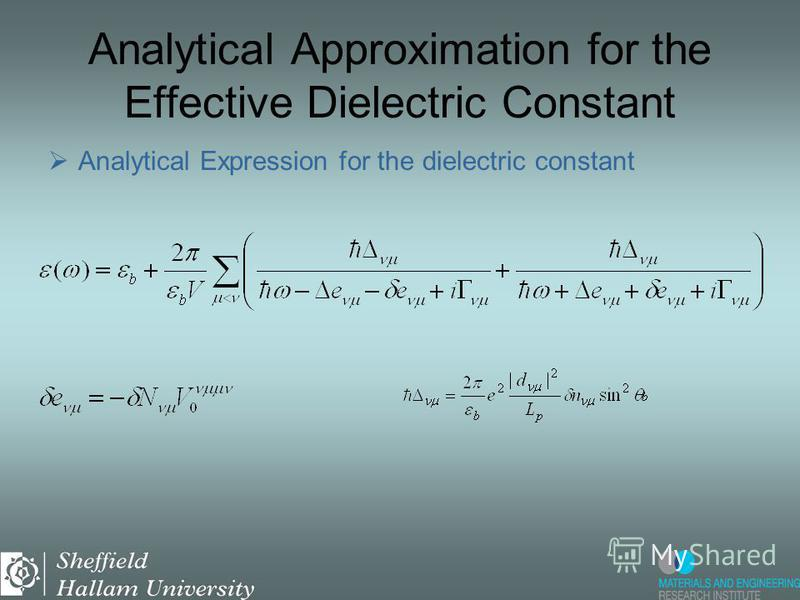 Analytical Approximation for the Effective Dielectric Constant Analytical Expression for the dielectric constant