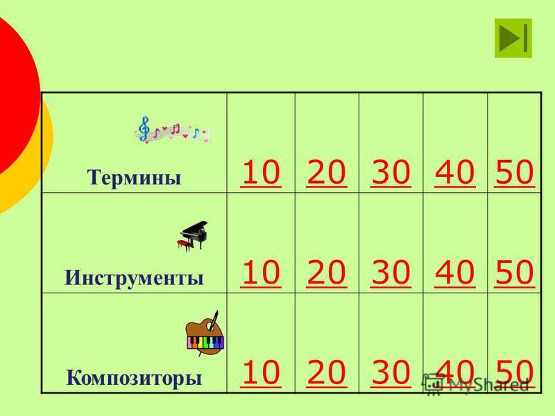 Термины 1020304050 Инструменты 1020304050 Композиторы 1020304050