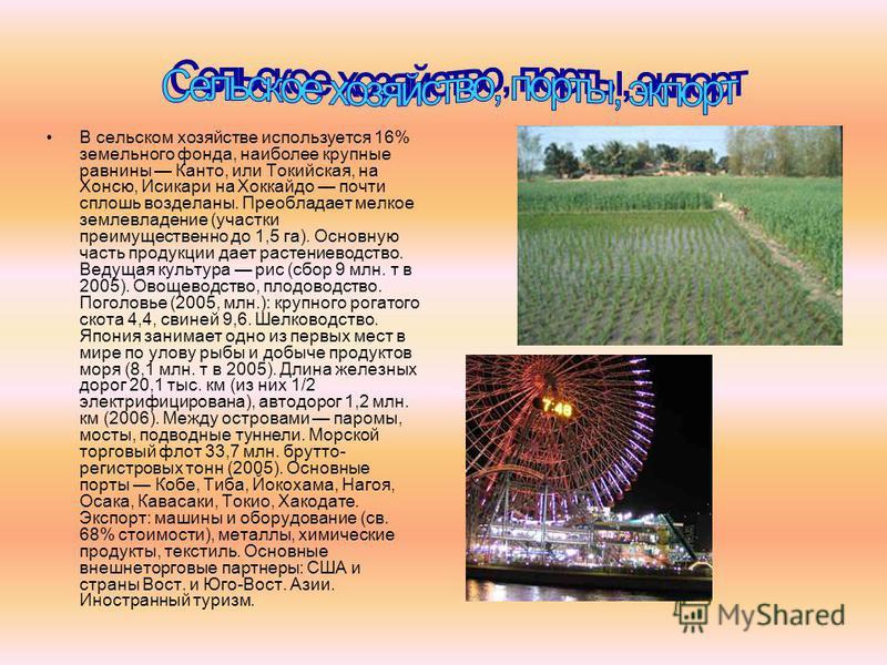 В сельском хозяйстве используется 16% земельного фонда, наиболее крупные равнины Канто, или Токийская, на Хонсю, Исикари на Хоккайдо почти сплошь возделаны. Преобладает мелкое землевладение (участки преимущественно до 1,5 га). Основную часть продукци