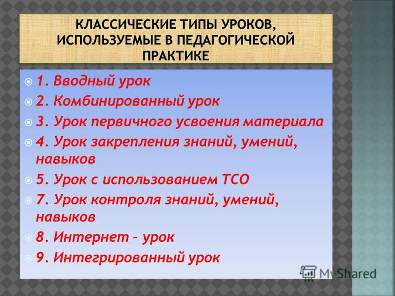 1. Вводный урок 2. Комбинированный урок 3. Урок первичного усвоения материала 4. Урок закрепления знаний, умений, навыков 5. Урок с использованием ТСО 7. Урок контроля знаний, умений, навыков 8. Интернет – урок 9. Интегрированный урок