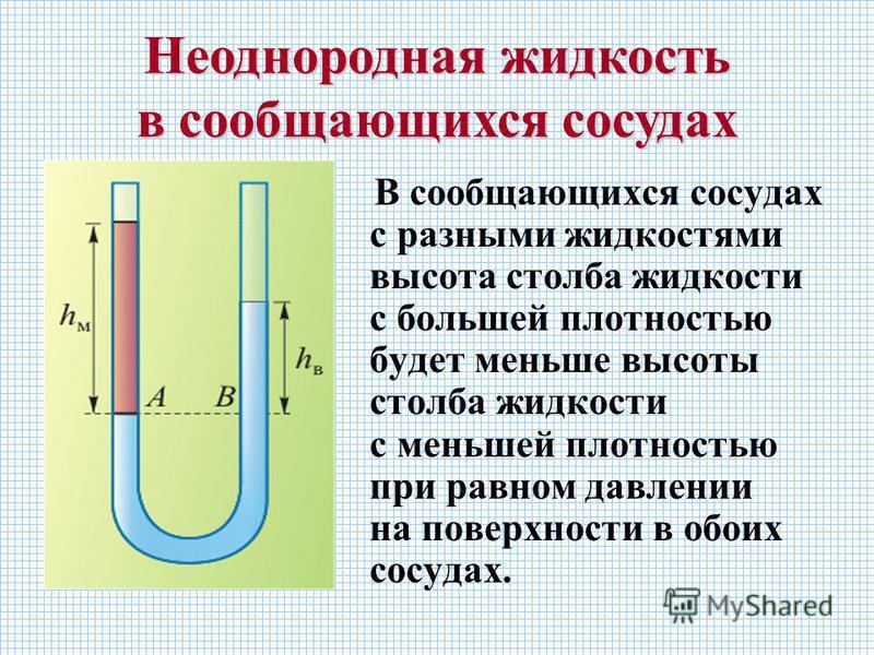 В сообщающихся сосудах с разными жидкостями высота столба жидкости с большей плотностью будет меньше высоты столба жидкости с меньшей плотностью при равном давлении на поверхности в обоих сосудах. Неоднородная жидкость в сообщающихся сосудах