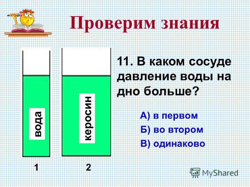 Проверим знания 11. В каком сосуде давление воды на дно больше? А) в первом Б) во втором В) одинаково вода керосин 12