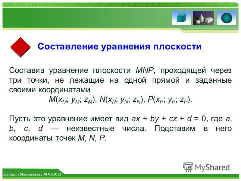 Журнал «Математика» 01/2013 Составление уравнения плоскости Составив уравнение плоскости MNP, проходящей через три точки, не лежащие на одной прямой и заданные своими координатами M(x M ; y M ; z M ), N(x N ; y N ; z N ), P(x P ; y P ; z P ). Пусть э