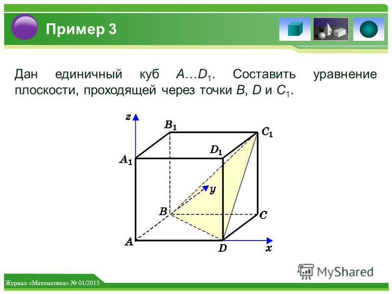 Журнал «Математика» 01/2013 Пример 3 Дан единичный куб A…D 1. Составить уравнение плоскости, проходящей через точки B, D и C 1.