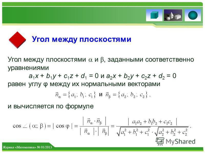 Журнал «Математика» 01/2013 Угол между плоскостями Угол между плоскостями и β, заданными соответственно уравнениями a 1 x + b 1 y + c 1 z + d 1 = 0 и a 2 x + b 2 y + c 2 z + d 2 = 0 равен углу φ между их нормальными векторами и вычисляется по формуле