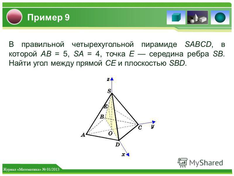 Журнал «Математика» 01/2013 Пример 9 В правильной четырехугольной пирамиде SABCD, в которой AB = 5, SA = 4, точка Е середина ребра SB. Найти угол между прямой CE и плоскостью SBD.