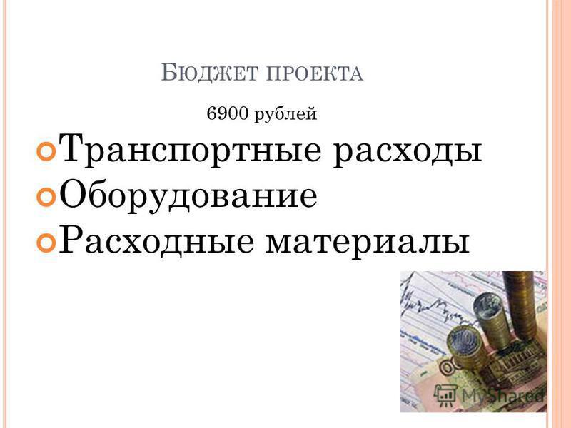 Б ЮДЖЕТ ПРОЕКТА 6900 рублей Транспортные расходы Оборудование Расходные материалы