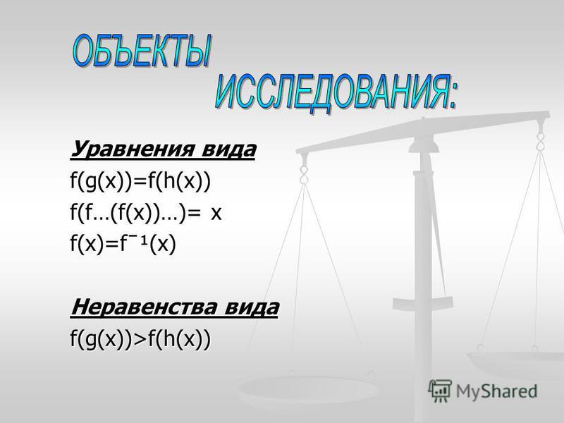 Уравнения вида f(g(x))=f(h(x)) f(f…(f(х))…)= х f(x)=fˉ¹(х) Неравенства вида f(g(x))>f(h(x))