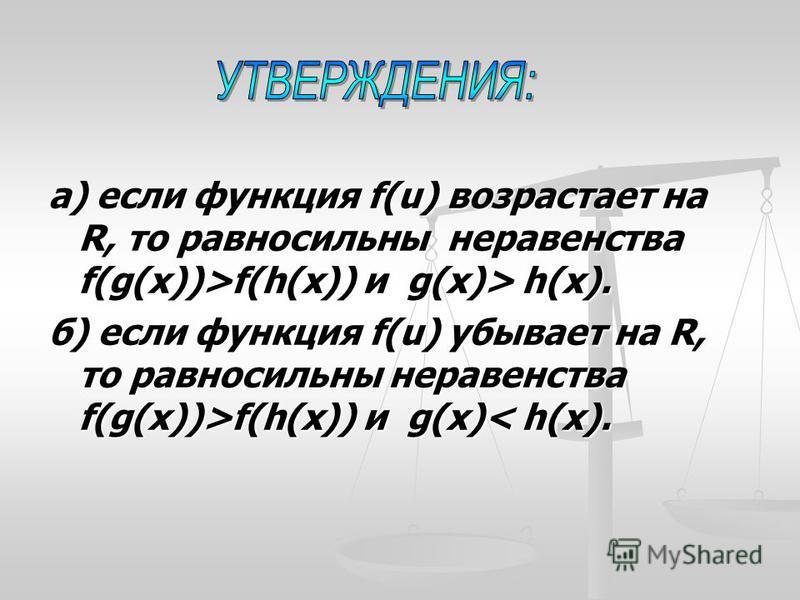 а) если функция f(u) возрастает на R, то равносильны неравенства f(g(x))>f(h(x)) и g(x)> h(x). б) если функция f(u) убывает на R, то равносильны неравенства f(g(x))>f(h(x)) и g(x) f(h(x)) и g(x)< h(x).