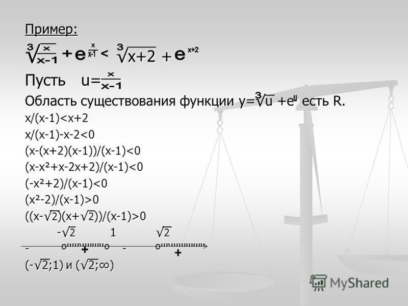 Пример: х+2 +х+2 + Пусть u= Область существования функции у=u +е есть R. х/(х-1)<х+2 х/(х-1)-х-2<0(х-(х+2)(х-1))/(х-1)<0(х-х²+х-2 х+2)/(х-1)<0(-х²+2)/(х-1)<0 (х²-2)/(х-1)>0 ((х- 2 )(х+ 2 ))/(х-1)>0 - 2 1 2 - 2 1 2 - º''''''''''''''º - º''''''''''''''