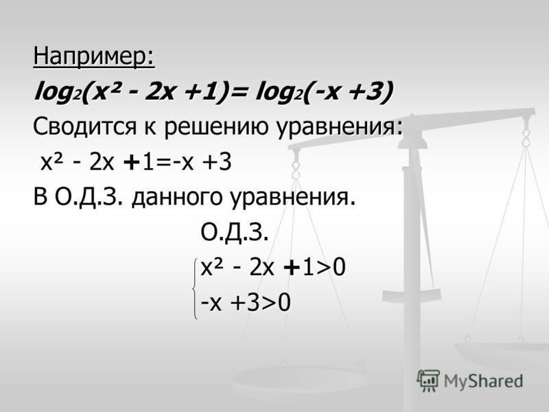 Например: log 2 (х² - 2 х +1)= log 2 (-х +3) Сводится к решению уравнения: х² - 2 х +1=-х +3 х² - 2 х +1=-х +3 В О.Д.З. данного уравнения. О.Д.З. О.Д.З. х² - 2 х +1>0 х² - 2 х +1>0 -х +3>0 -х +3>0