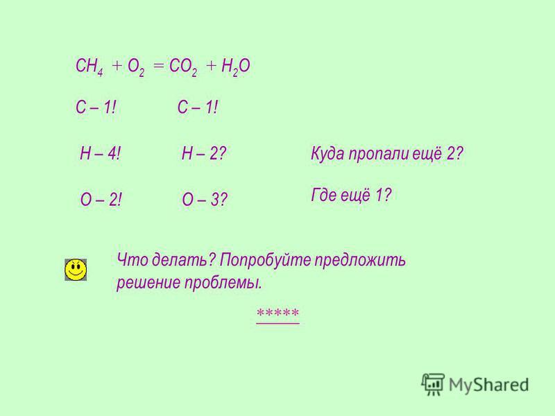 СН 4 + О 2 = СО 2 + Н 2 О С – 1! Н – 4!Н – 2?Куда пропали ещё 2? О – 2!О – 3? Где ещё 1? Что делать? Попробуйте предложить решение проблемы. *****