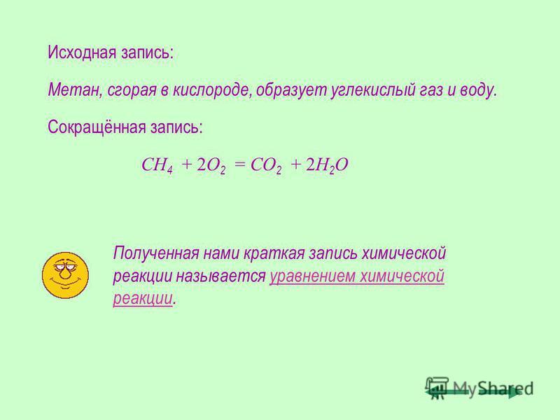 Метан, сгорая в кислороде, образует углекислый газ и воду. СН 4 + 2О 2 = СО 2 + 2Н2О2Н2О Полученная нами краткая запись химической реакции называется уравнением химической реакции. Исходная запись: Сокращённая запись: