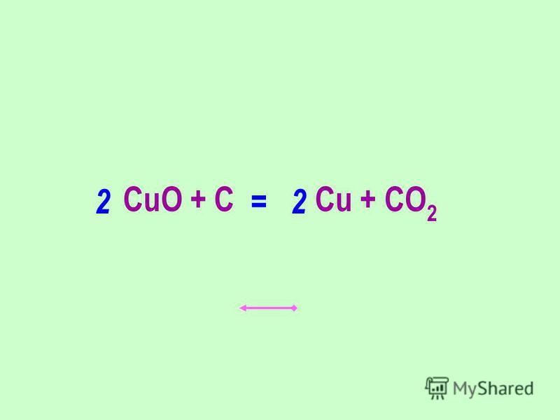 CuO + C Cu + CO 2 22 =
