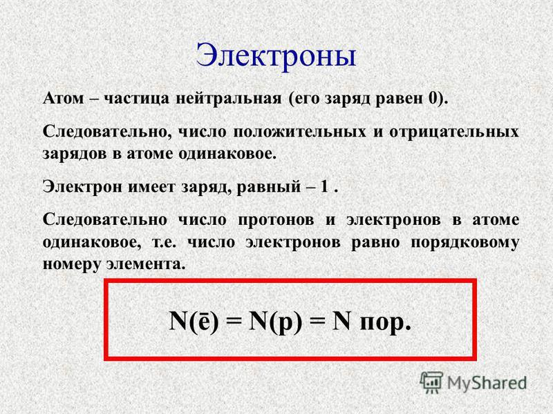 Электроны Атом – частица нейтральная (его заряд равен 0). Следовательно, число положительных и отрицательных зарядов в атоме одинаковое. Электрон имеет заряд, равный – 1. Следовательно число протонов и электронов в атоме одинаковое, т.е. число электр