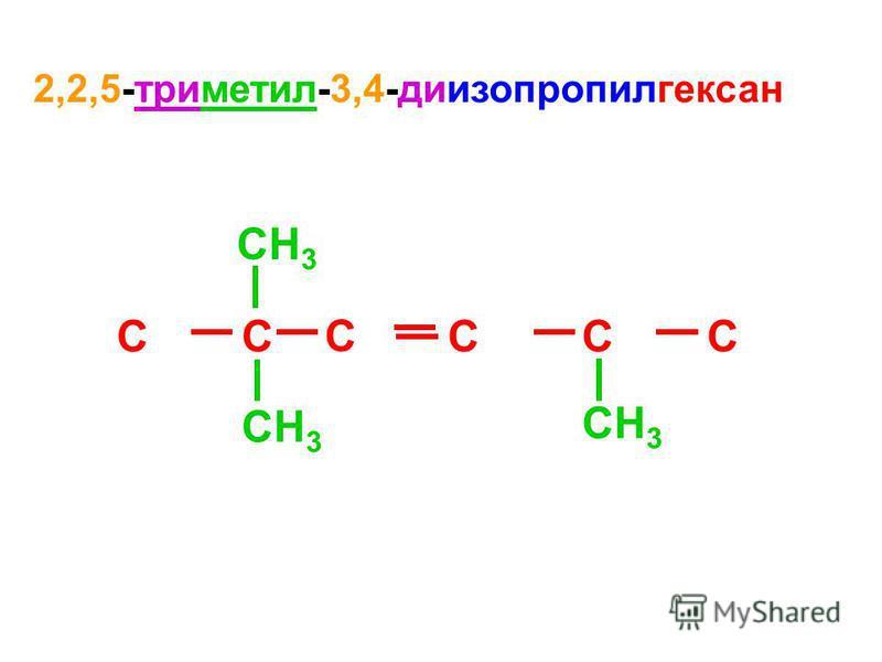 2,2,5-триметил-3,4-диизопропилгексан CC C CCC CH 3