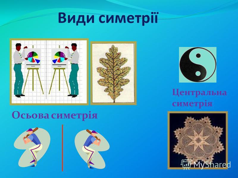 відповідність, пропорційність, подібність в розташуванні частин. З симетрією ми зустрічаємося скрізь: у природі, техніці, мистецтві, науці. Нам зустрічаються різні види симетрії. Слово «симетрія» прийшло з Древньої Греції і означає воно