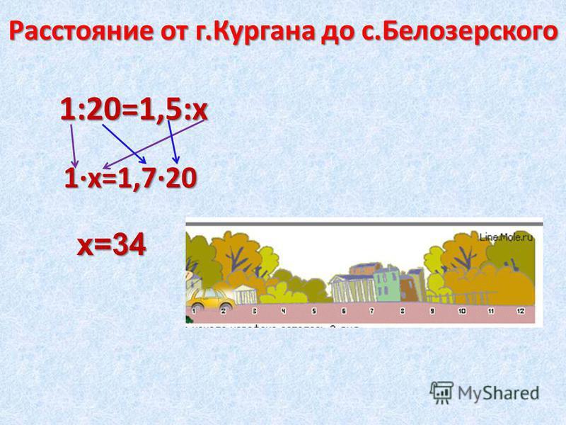 1:20=1,5:х Расстояние от г.Кургана до с.Белозерского 1·х=1,7·20 х=34