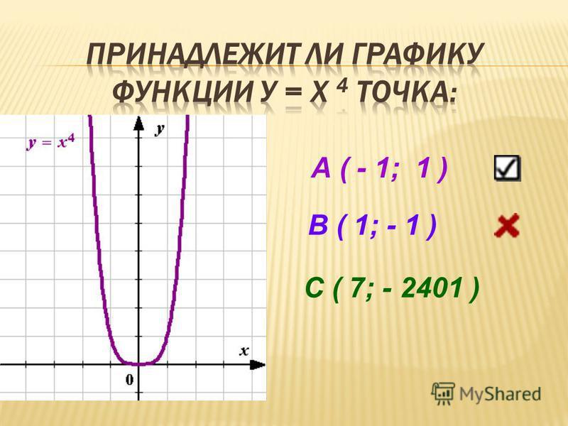 А ( - 1; 1 ) В ( 1; - 1 ) С ( 7; - 2401 )