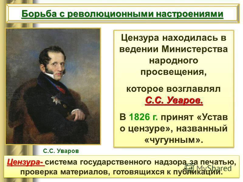 Цензура находилась в ведении Министерства народного просвещения, С.С. Уваров. которое возглавлял С.С. Уваров. В 1826 г. принят «Устав о цензуре», названный «чугунным». Цензура находилась в ведении Министерства народного просвещения, С.С. Уваров. кото