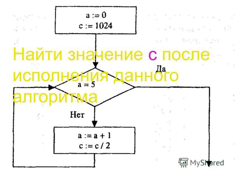 Задача 2 Найти значение с после исполнения данного алгоритма