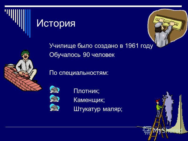 История Училище было создано в 1961 году Обучалось 90 человек По специальностям: Плотник; Каменщик; Штукатур маляр;