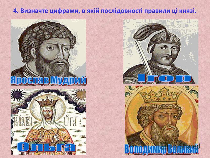 4. Визначте цифрами, в якій послідовності правили ці князі.