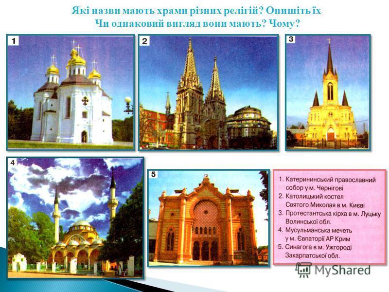 Які назви мають храми різних релігій? Опишіть їх Чи однаковий вигляд вони мають? Чому?