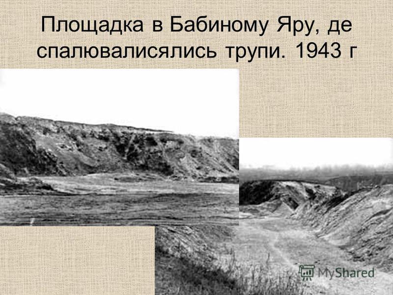 Площадка в Бабиному Яру, де спалювалисялись трупи. 1943 г