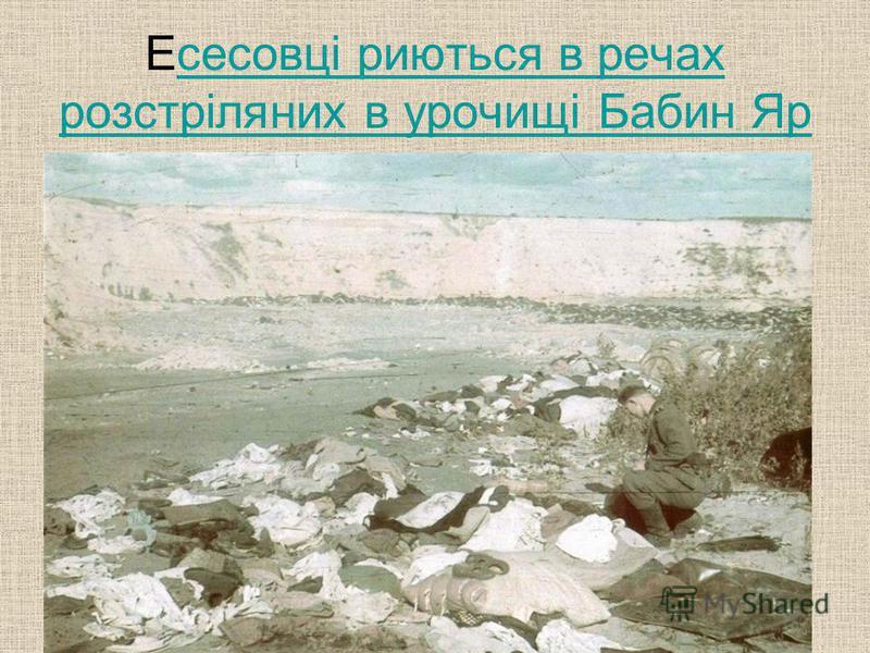 Есесовці риються в речах розстріляних в урочищі Бабин Ярсесовці риються в речах розстріляних в урочищі Бабин Яр
