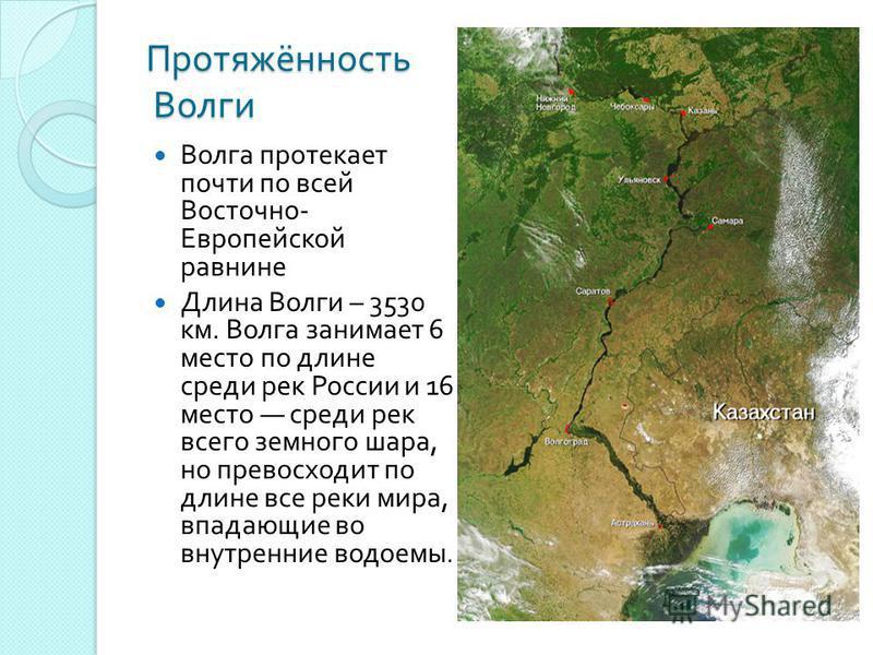 Протяжённость Волги Волга протекает почти по всей Восточно - Европейской равнине Длина Волги – 3530 км. Волга занимает 6 место по длине среди рек России и 16 место среди рек всего земного шара, но превосходит по длине все реки мира, впадающие во внут